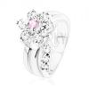 Csillogó gyűrű, ívelt szár, cirkóniás virág rózsaszín és átlátszó színben