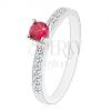 925 ezüst gyűrű - csillogó kirakott szárak, rózsaszín-piros cirkónia