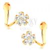 14K sárga arany fülbevaló - hullámos szalag, csillogó cirkóniás virág