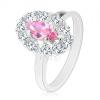 Csillogó gyűrű rózsaszín csiszolt szemmel, ovális szegély átlátszó cirkóniákból