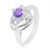 Fénylő gyűrű ezüst színben, kör alakú lila- átlátszó cirkóniák
