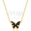 14K arany nyaklánc - fényes lánc, lepke fekete fénymázzal díszítve