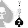 Acél köldökpiercing - fekete pikk ezüstös koponyával