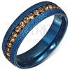 Kék anodizált gyűrű szemcsés felülettel, sárga cirkóniás sáv