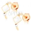 Fülbevaló 9K aranyból - félkör fehér rombusszal és cirkóniákkal díszítve
