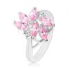 Gyűrű csiszolt rózsaszín szem alakú cirkóniákkal, két kerek átlátszó kő