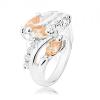 Gyűrű ezüst árnyalatban, átlátszó cirkóniás vonal, narancssárga csiszolt szemek