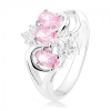 Ezüst színű gyűrű, szétágazó szárak, rózsaszín oválisok, átlátszó cirkóniák