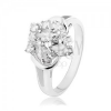 Ezüst színű gyűrű, osztott szárak, szem és kerek átlátszó cirkóniák