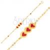Arany karkötő - csillogó lánc, tábla szívecskékkel, gyöngyök, fénymáz