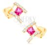 585 arany fülbevaló - átlátszó cirkóniás ív, csiszolt rózsaszín négyzet fülbevaló