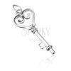 Medál 925 ezüstből - szívecskés kulcs