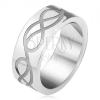 Acél karikagyűrű, gravírozott hurok motívum