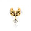 Arany színű fém karika fülbe - fekete foltok, átlátszó cirkónia
