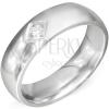 Fényes ezüst színű acél gyűrű, négyzet bemetszéssel és átlátszó cirkóniával
