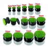 Fekete kerek fültágító plug zöld csillogókkal
