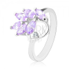 Csillogó ezüst színű gyűrű, világoslila szem ágacska