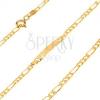 Arany karkötő lemezzel 585 - egy hosszúkás és három ovális szélesebb szem, 170 mm