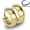 Acél fülbevaló - körök arany színben fényes sima felszínnel