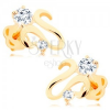 Fülbevaló 14K sárga aranyból - fényes hullámos szalag, két átlátszó cirkónia