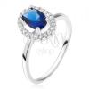 Gyűrű 925 ezüstből, ovális kék kő cirkóniás kerettel