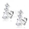 Bedugós ezüst fülbevaló - oszlop három ragyogó cirkóniából