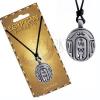 Fekete nyaklánc zsinórral, fém medállal, ovális egyiptomi amulett