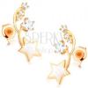 Fülbevaló 9K sárga aranyból - két vékony félhold, fehér és cirkóniás csillag