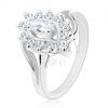 Ezüst színű gyűrű, átlátszó csiszolt búzaszem cirkóniás szegélyben