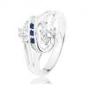 Ezüst színű gyűrű, kettős spirál átlátszó és sötétkék cirkóniákkal
