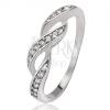 Gyűrű 925 ezüstből, cirkóniás hullámok