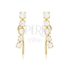 Arany fülbevaló - enyhén lekerekített függőleges cirkóniás sáv