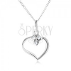 Nyakék 925 ezüstből - lánc és szív körvonal, három szív cirkóniákkal