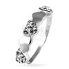 925-ös ezüst gyűrű - ragyogó és sima szívecskék