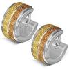 Karika fülbevalók acélból, két szemcsés arany sáv