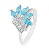 Fényes ezüst színű gyűrű, átlátszó cirkóniák, akvamarinkék árnyalatú szem