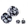 Akril fake plug fülbe - fekete-fehér színű korongok