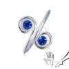 Ezüst gyűrű kézre vagy lábra - két kék cirkónia a spirálban