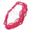 Fonott karkötő rózsaszínű zsinórokból, hullámos motívum
