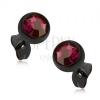 Bedugós fülbevaló acélból, fekete félgömb fukszia színű kővel