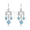 Ezüst függő fülbevaló kék üveggyöngyökkel