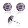 Cabochon fülbevaló, átlátszó kidomborodó fénymáz, lila rózsa fehér széllel