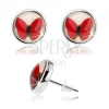 Bedugós kaboson fülbevaló, kör fénymázzal, piros pillangó, fehér háttér