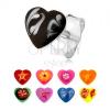 925 ezüst fülbevaló, egyenletes szívecske, színes fénymáz, különböző minták