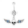 Köldökpiercing, 316L acél, koponya szárnyakkal, kék cirkóniák