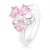 Ezüst színű gyűrű, három rózsaszín ovális cirkónia, hullámos vonal