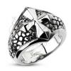 Masszív acélgyűrű - repedezett alapon fényes kereszt motívum