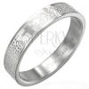 Ezüst színű acél gyűrű imával és kereszttel