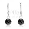 Golyós fülbevaló fekete színben, 925 ezüst, fekete Preciosa kristályok, 6 mm