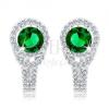 925 ezüst fülbevaló, kerek zöld cirkónia, átlátszó keret, kettős vonal